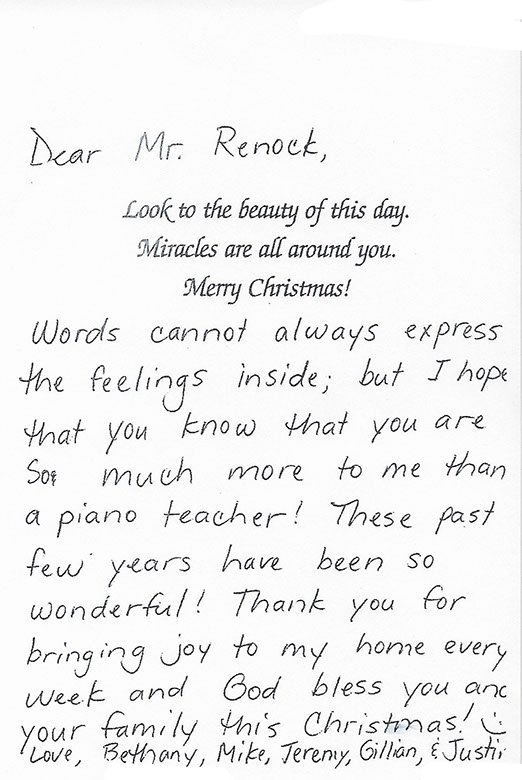 This is a card that was sent to Dick Renock thanking him for the music lessons.