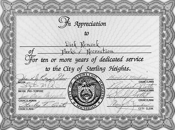 This image is a certificate for decicated service to Dick Renock from the Mayor of Sterling Heights, MI.